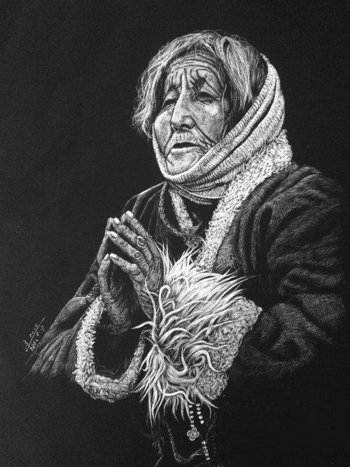 Illustration de personnes de femmes en prière
