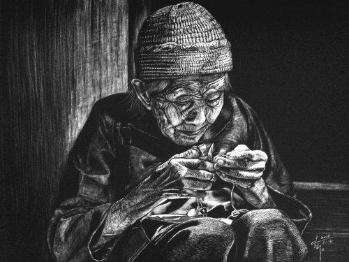 Portrait illustration of sitting old women