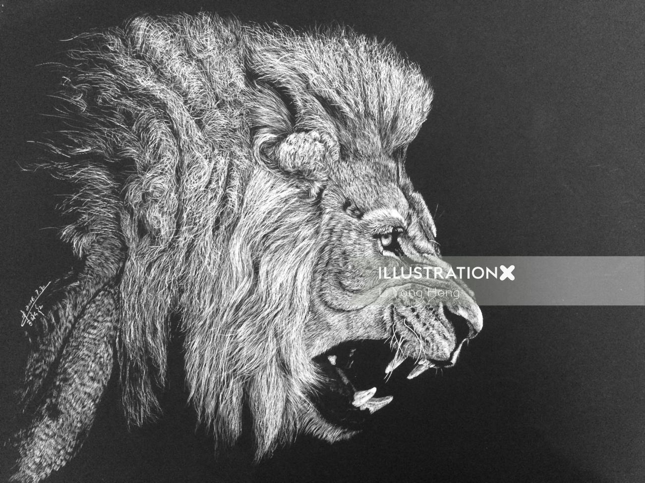 Animal Illustration of roaring lion