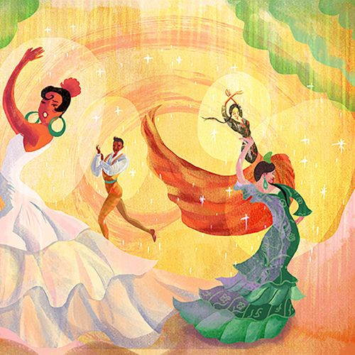 Flamenco dancers digital painting