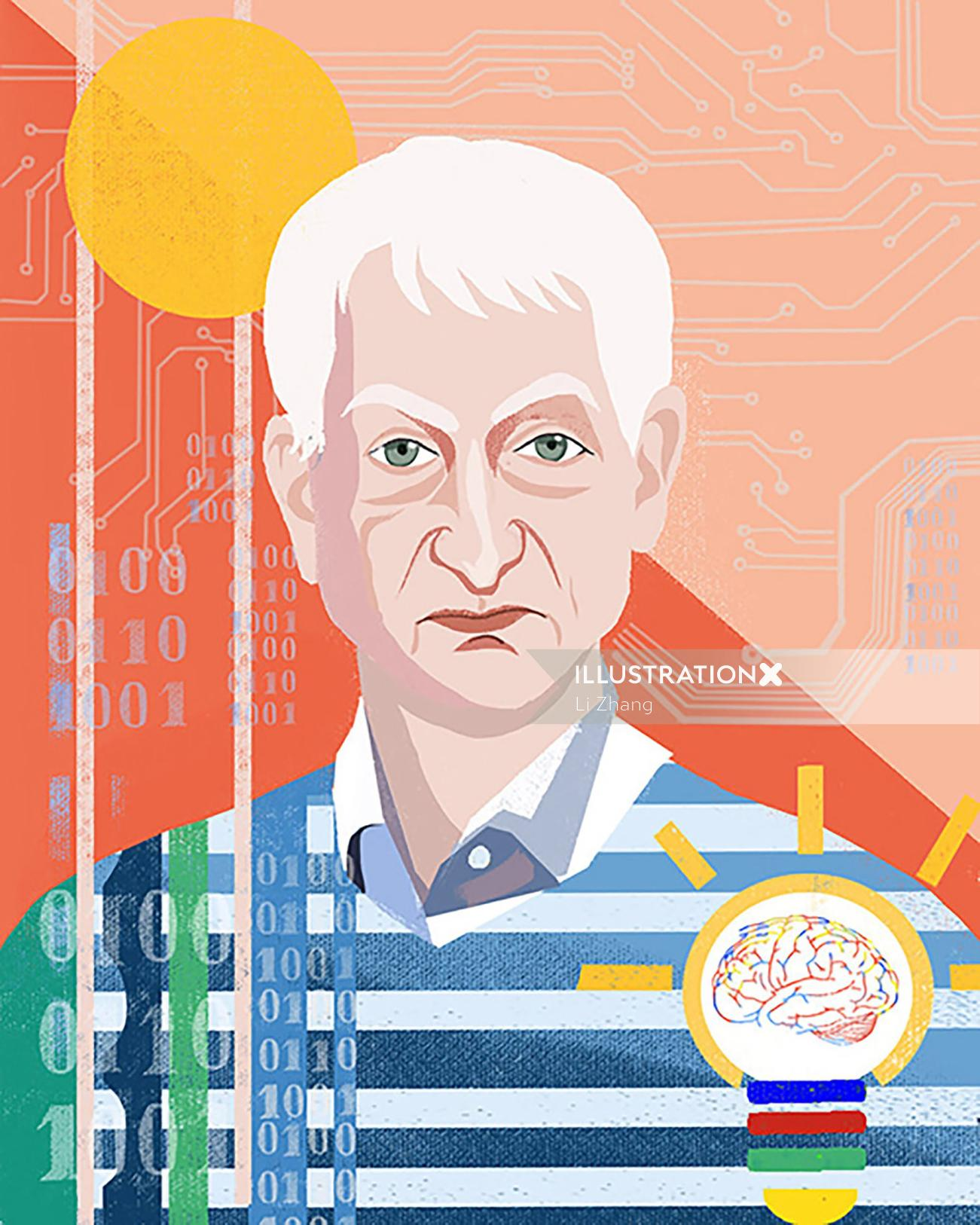 Portrait art of Geoffrey Hinton