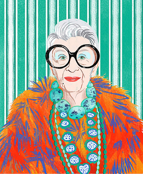 Portrait of fashion icon Iris Apfel