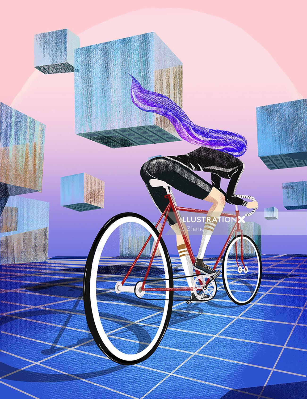 Girl is full of energy and ready to ride into the future