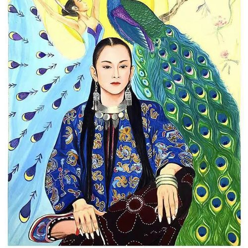 Dancer and peacock