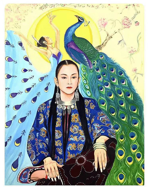 portrait of  peacock dancer in Yang liping
