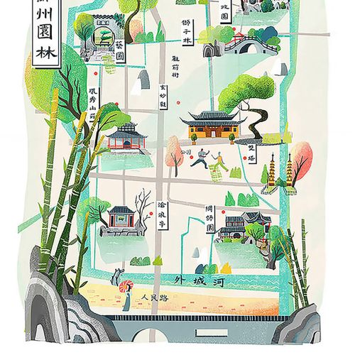 Map illustration of Suzhou Gardens