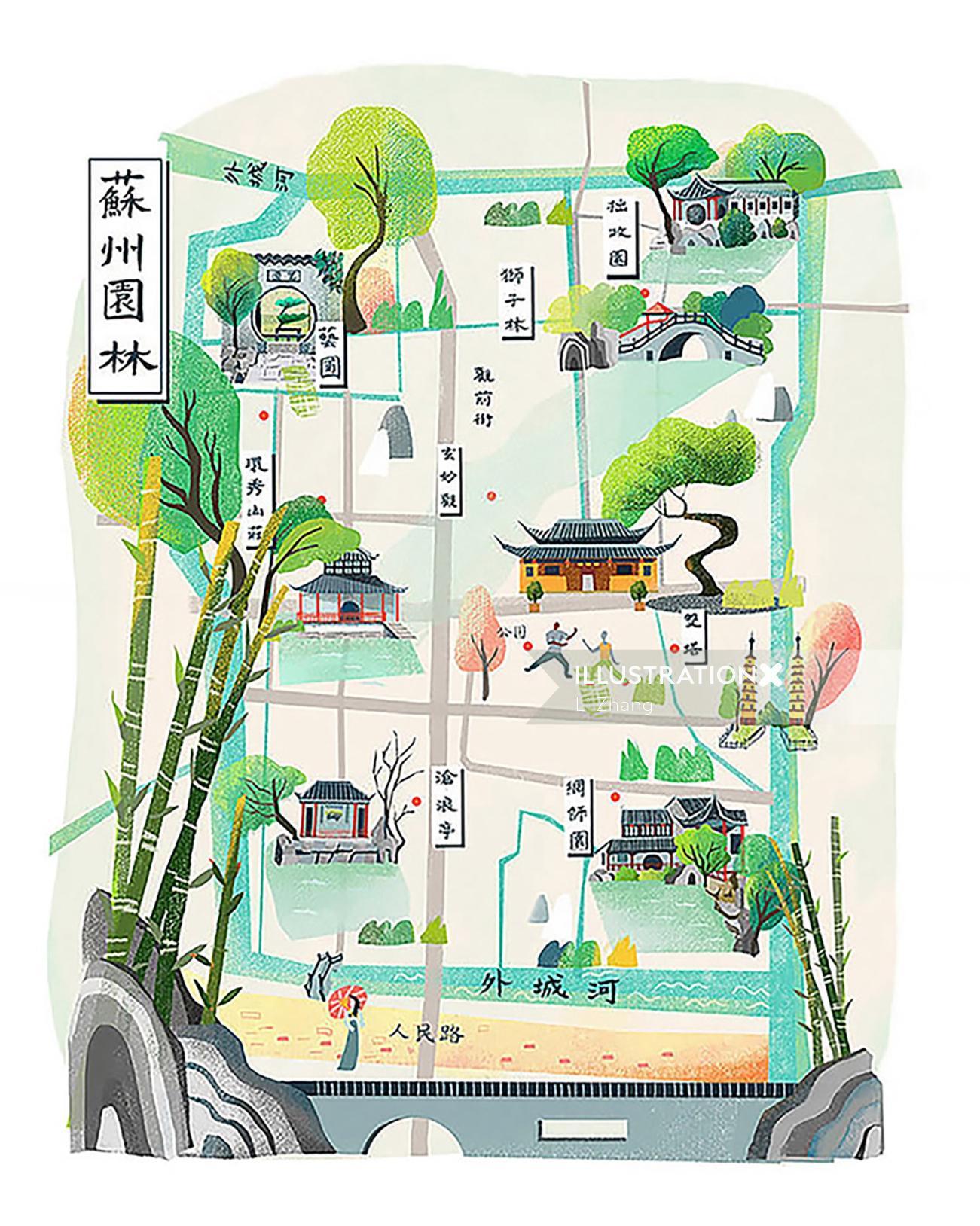 Map illustration of Suzhou Gardens