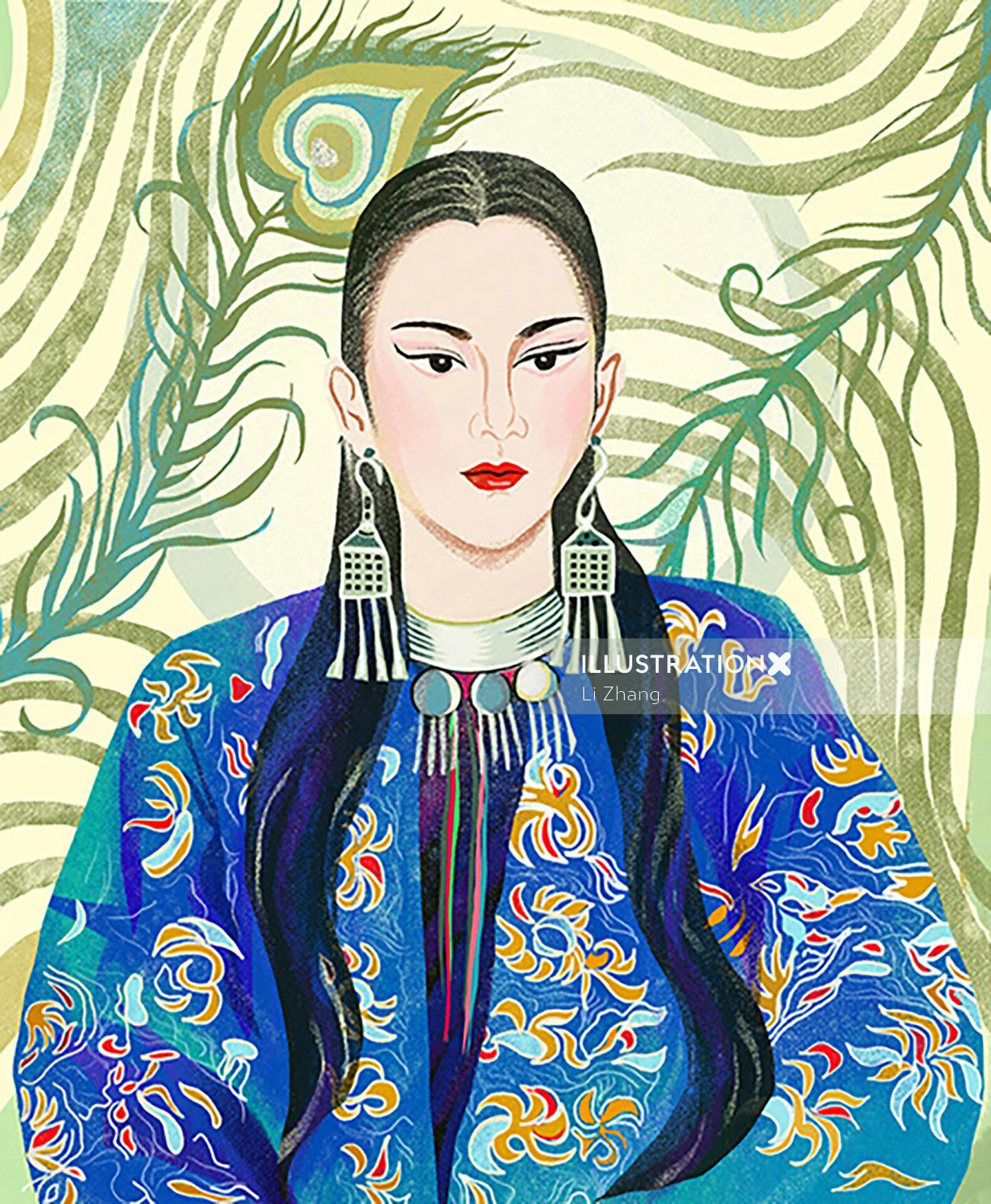 Portrait of Chinese folk dancer Yang Liping