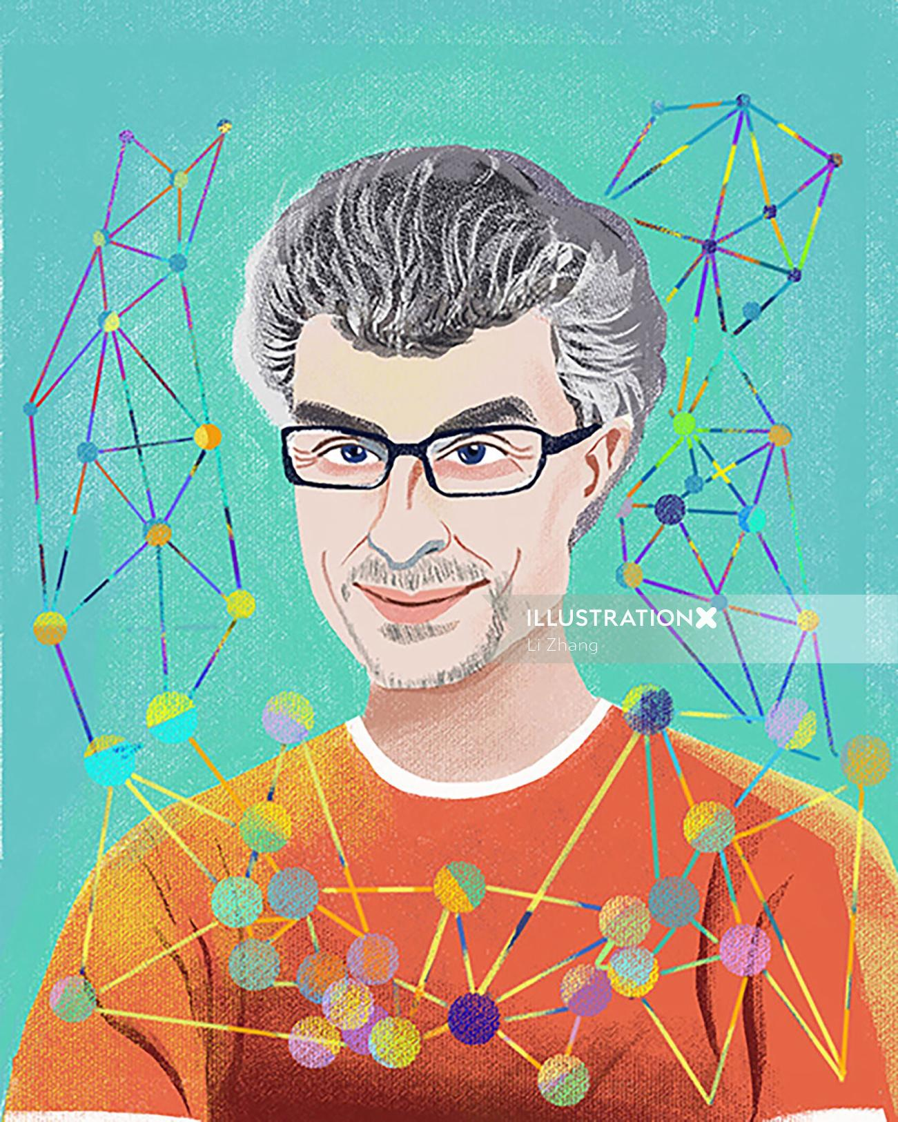 Yoshua Bengio portrait illustration