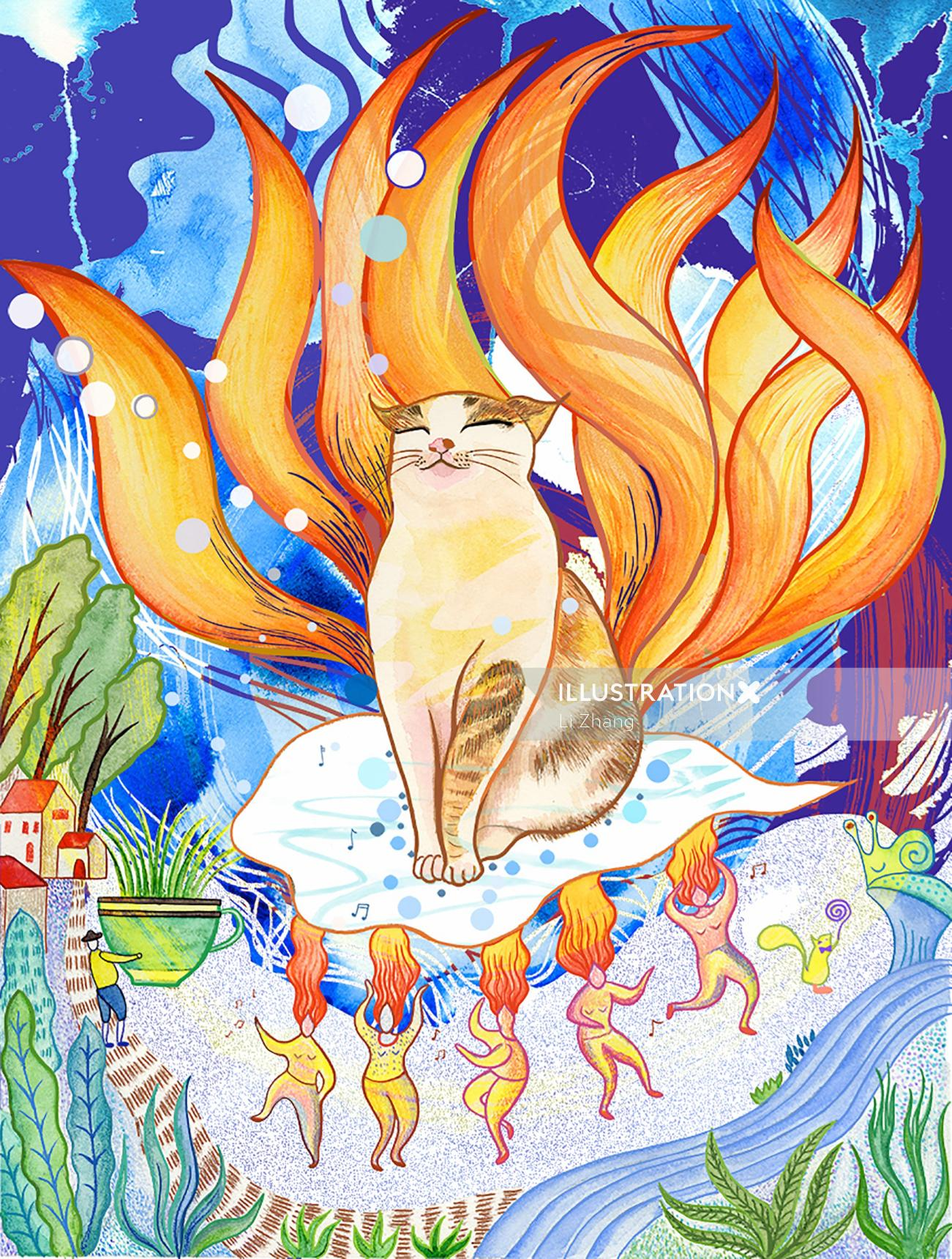 Colorful painting of Lucky nine tails cat