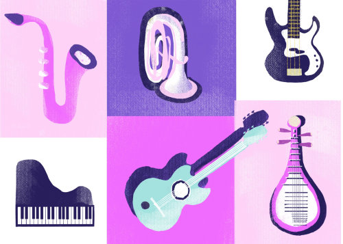 Icon's painting of Music instruments