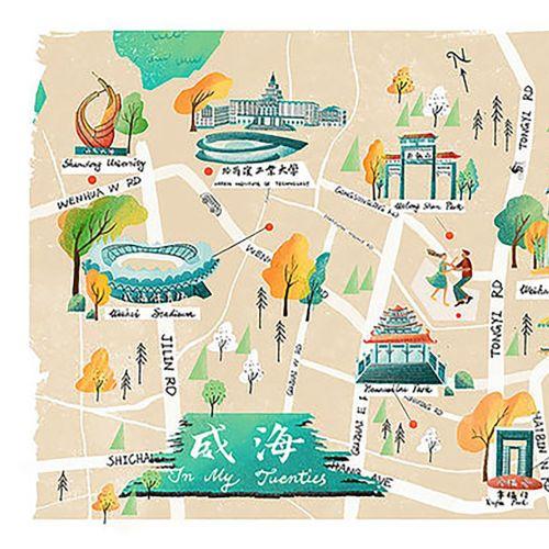 Weihai City map illustration