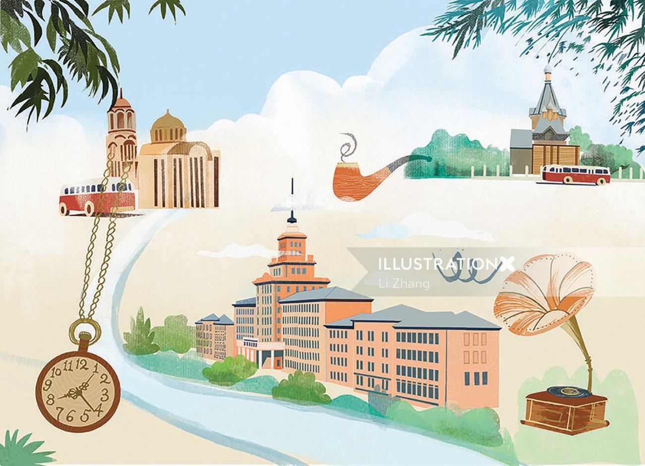 Retro art of 50s-60s of Harbin Institute of Technology