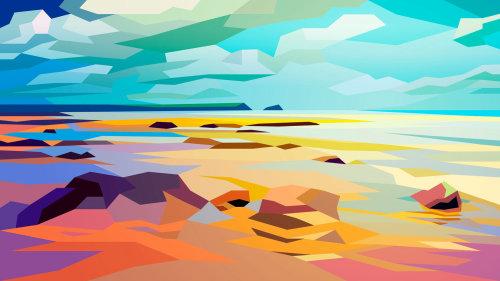 Plage rocheuse, paysage par Liam Brazier