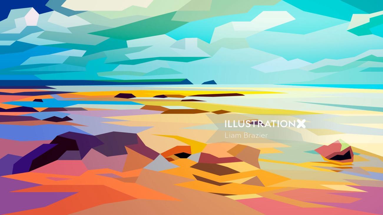 Rocky Beach, Landscape by Liam Brazier