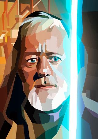 Graphic illustration of Obi-wan Kenobi, Character in Star Wars