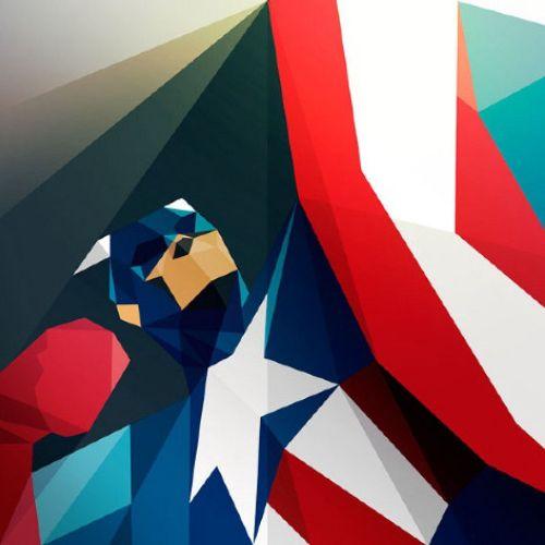 Graphic illustration of Captain America