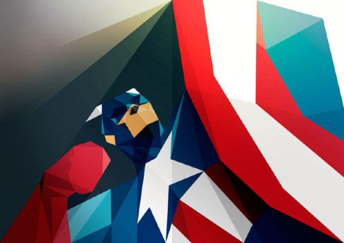 Graphic illustration of Captain America
