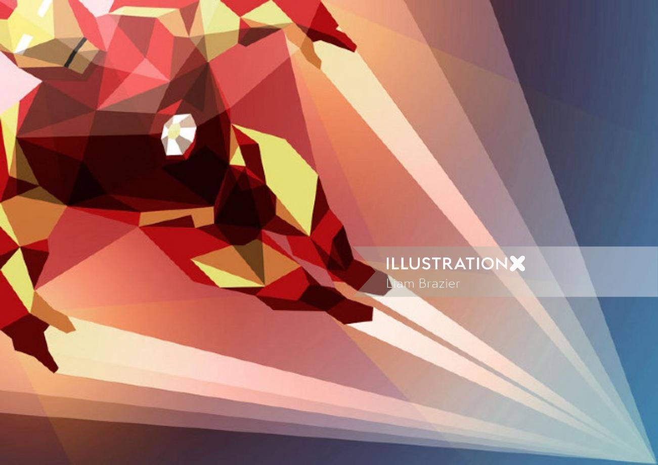 Graphic illustration of iron man