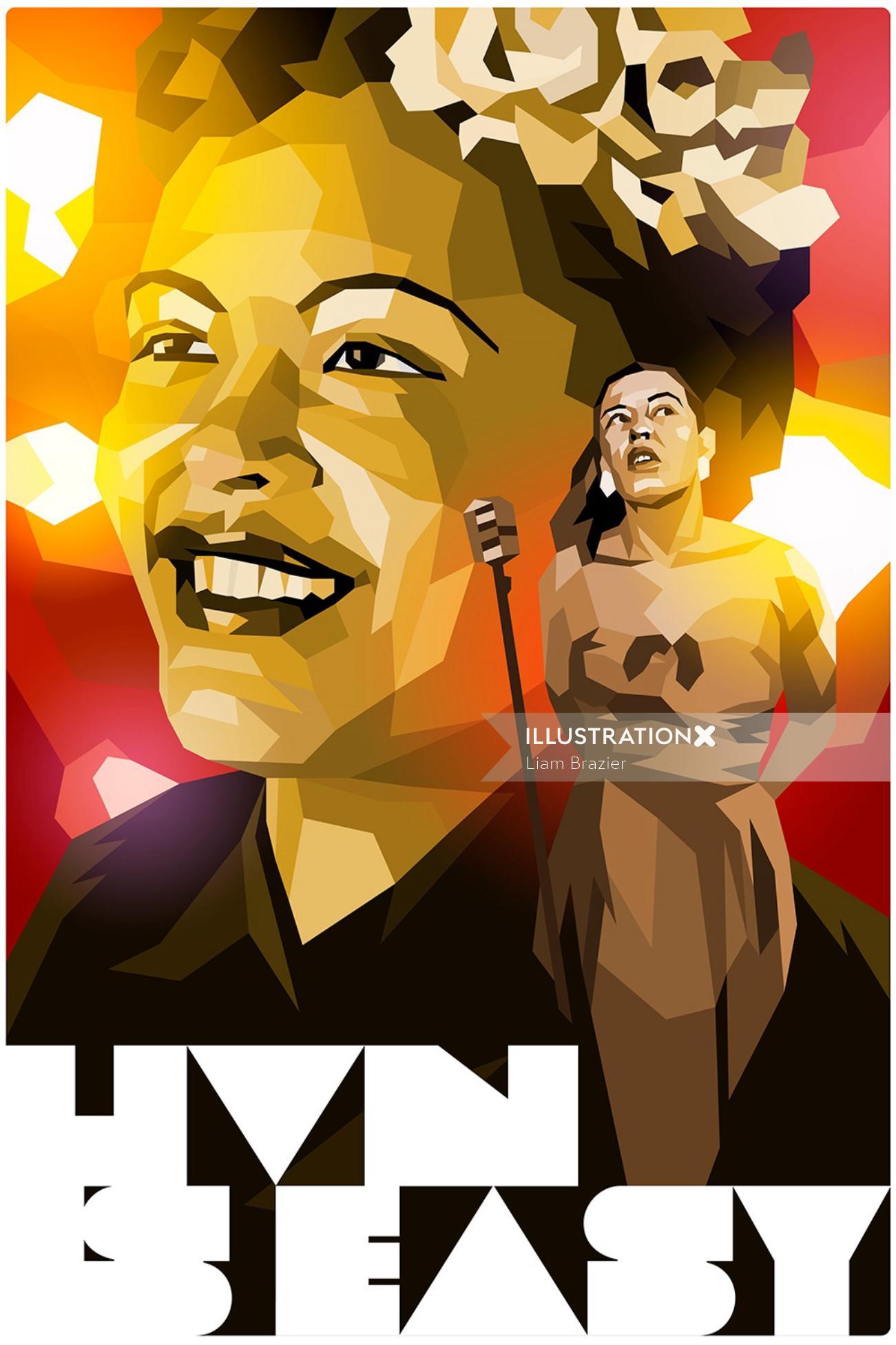 Graphic illustration of woman singing