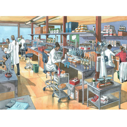 Illustration of the science laboratory