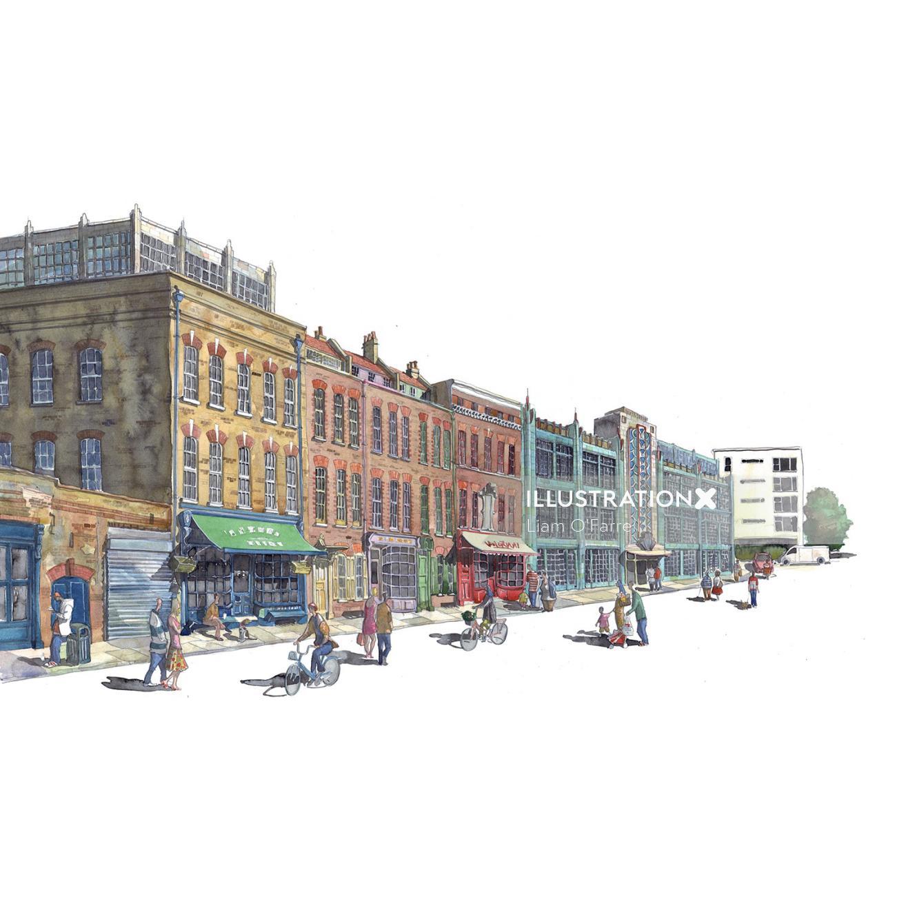 Architecture, cityscape, street, London, watercolour