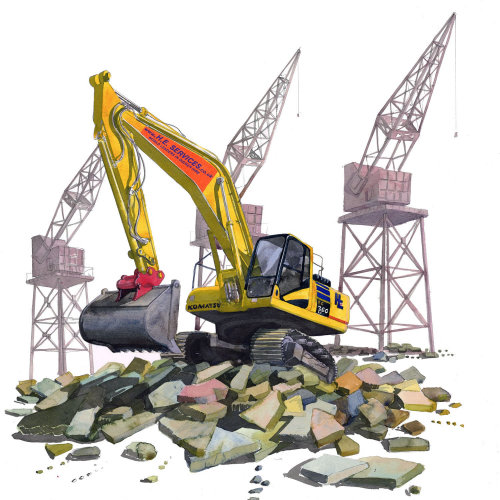 digger, jcb, construction, building