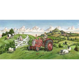 tractor, cows, farming, landscape