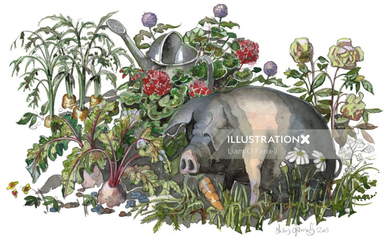 pig, animal, farm,