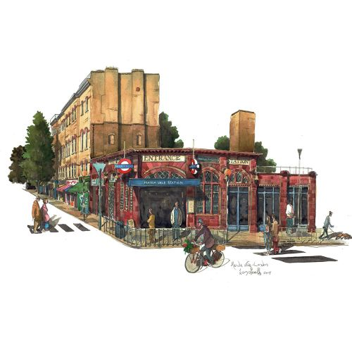 Painting of Maida Vale Tube station and street in London
