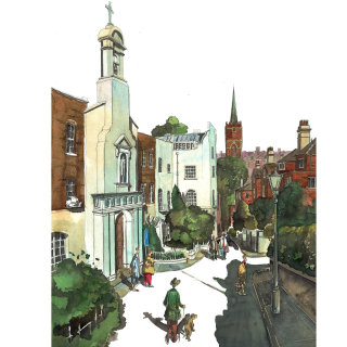Painting of a street and church in Hampstead London