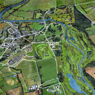 Painting of an aerial view of the countryside and village in Ireland