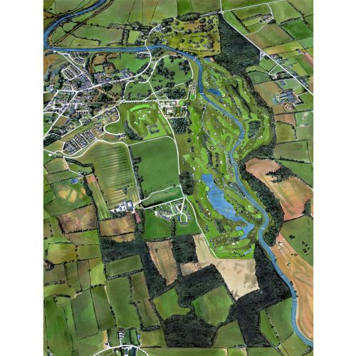 Painting of an aerial view of the countryside in Ireland and golf course