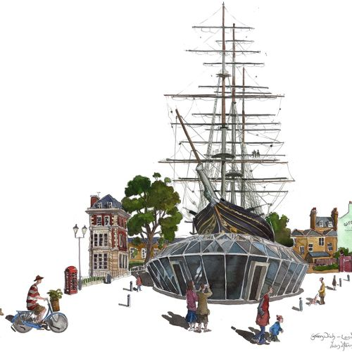 The Cutty Sark sailing ship in Greenwich, London