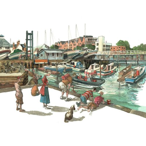 harbor, boats, fishing, children, holiday