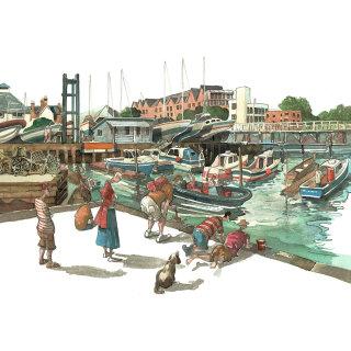 harbor, boats, fishing, children, holiday