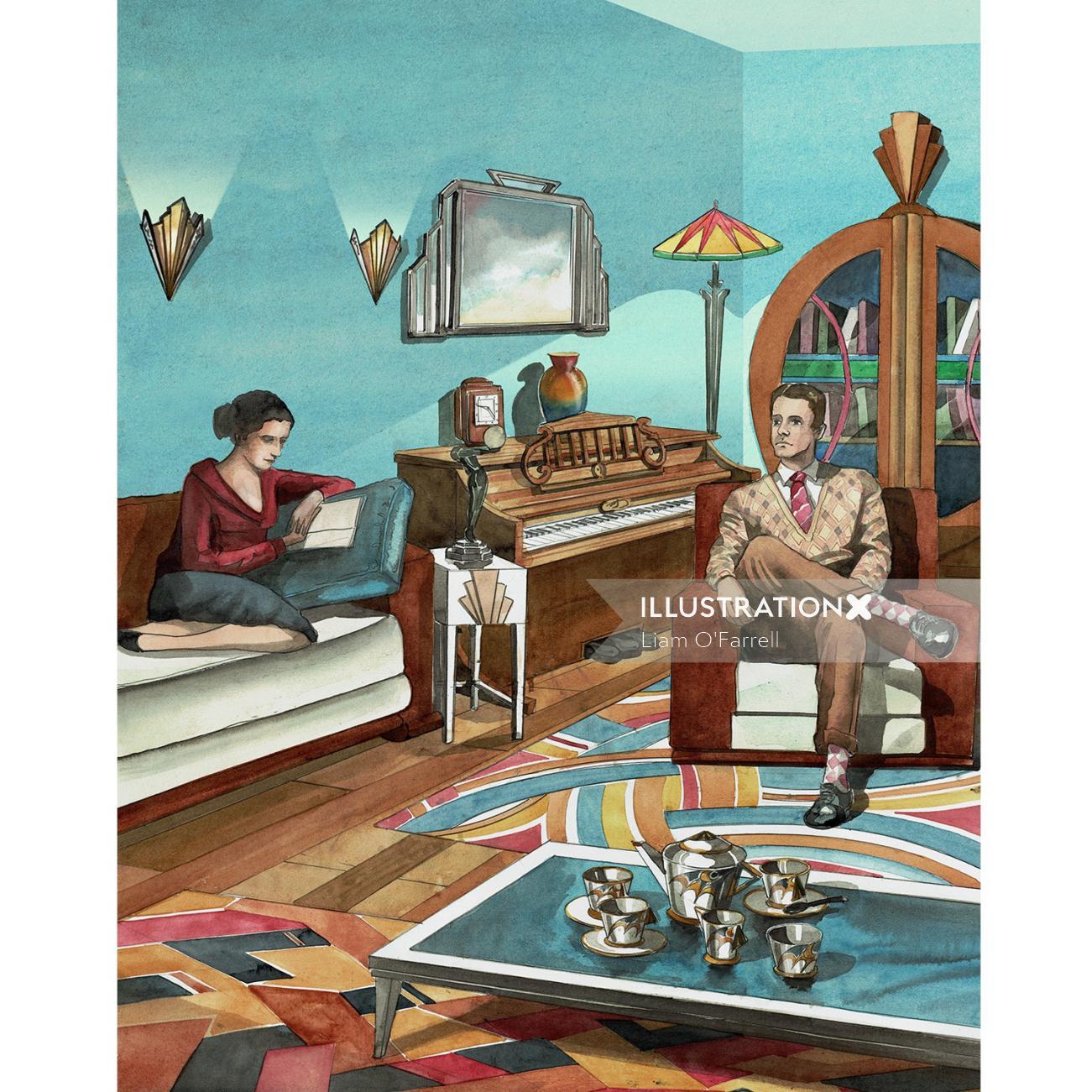 art deco, Sitting room, house, stylish