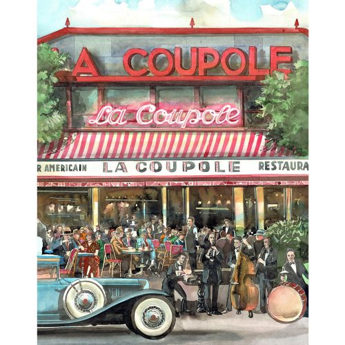 watercolour, line, architecture, cafe,paris, art deco, cars,