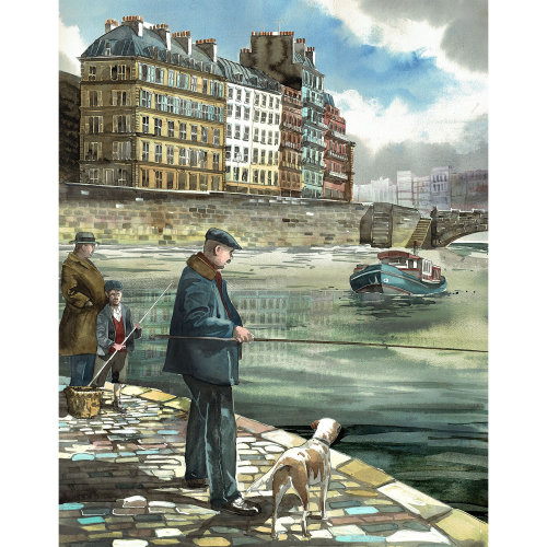 fishing, man, dog, Paris, Architecture