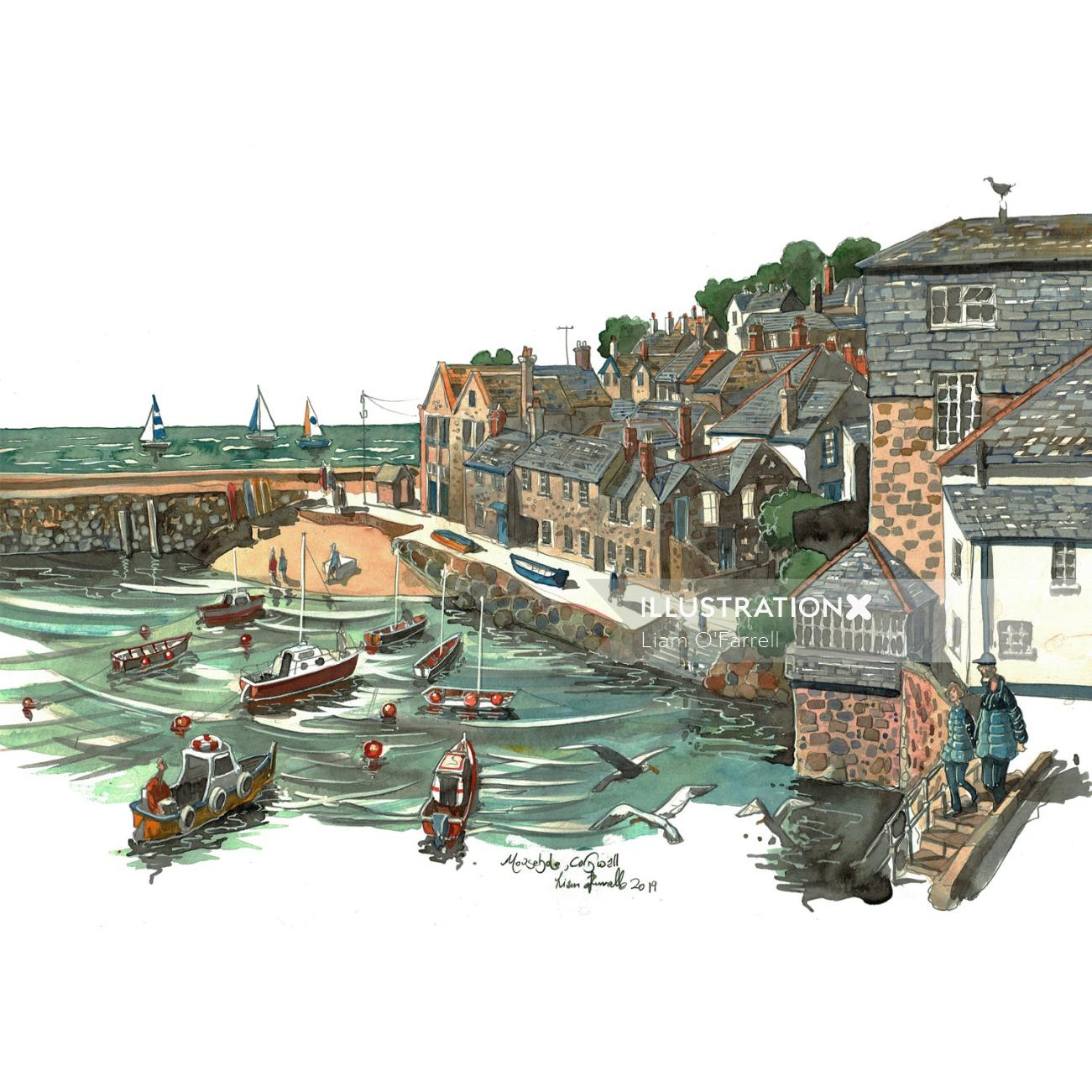 The harbour of Mousehole in Cornwall