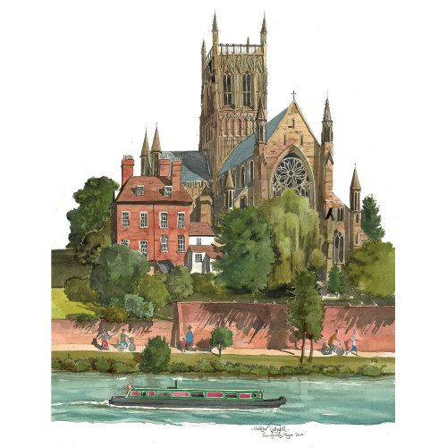 A painting of Worcester Cathedral on the river Severn