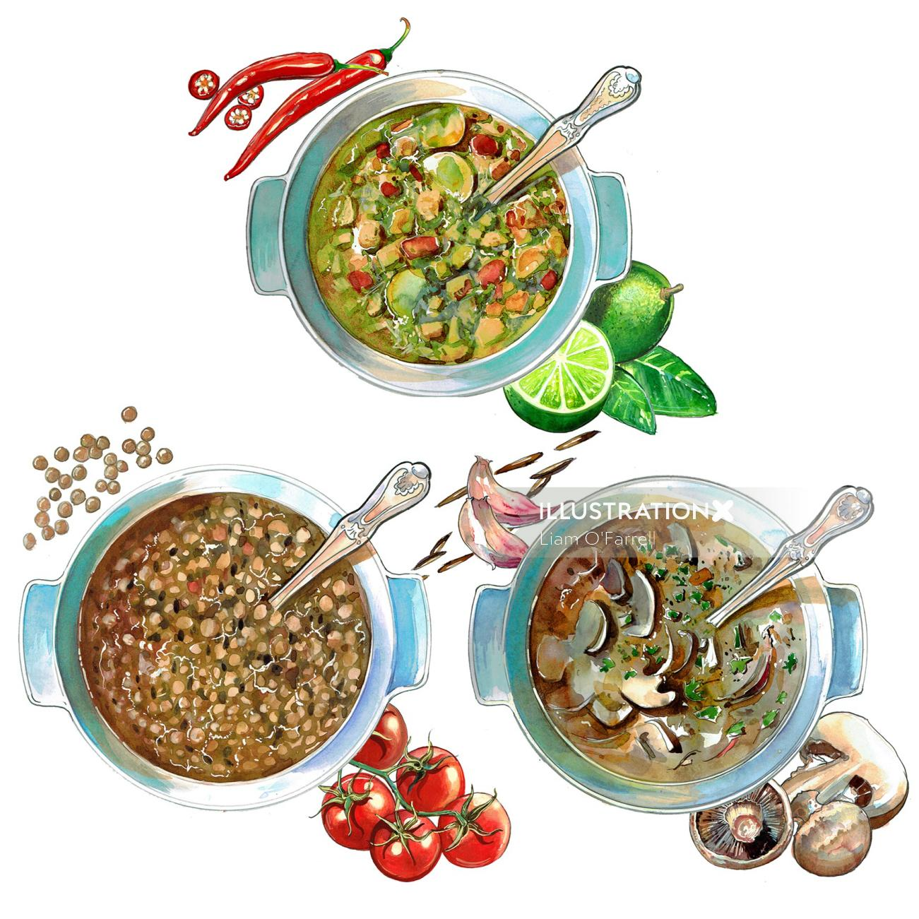 Soups for a series of high quality recipes