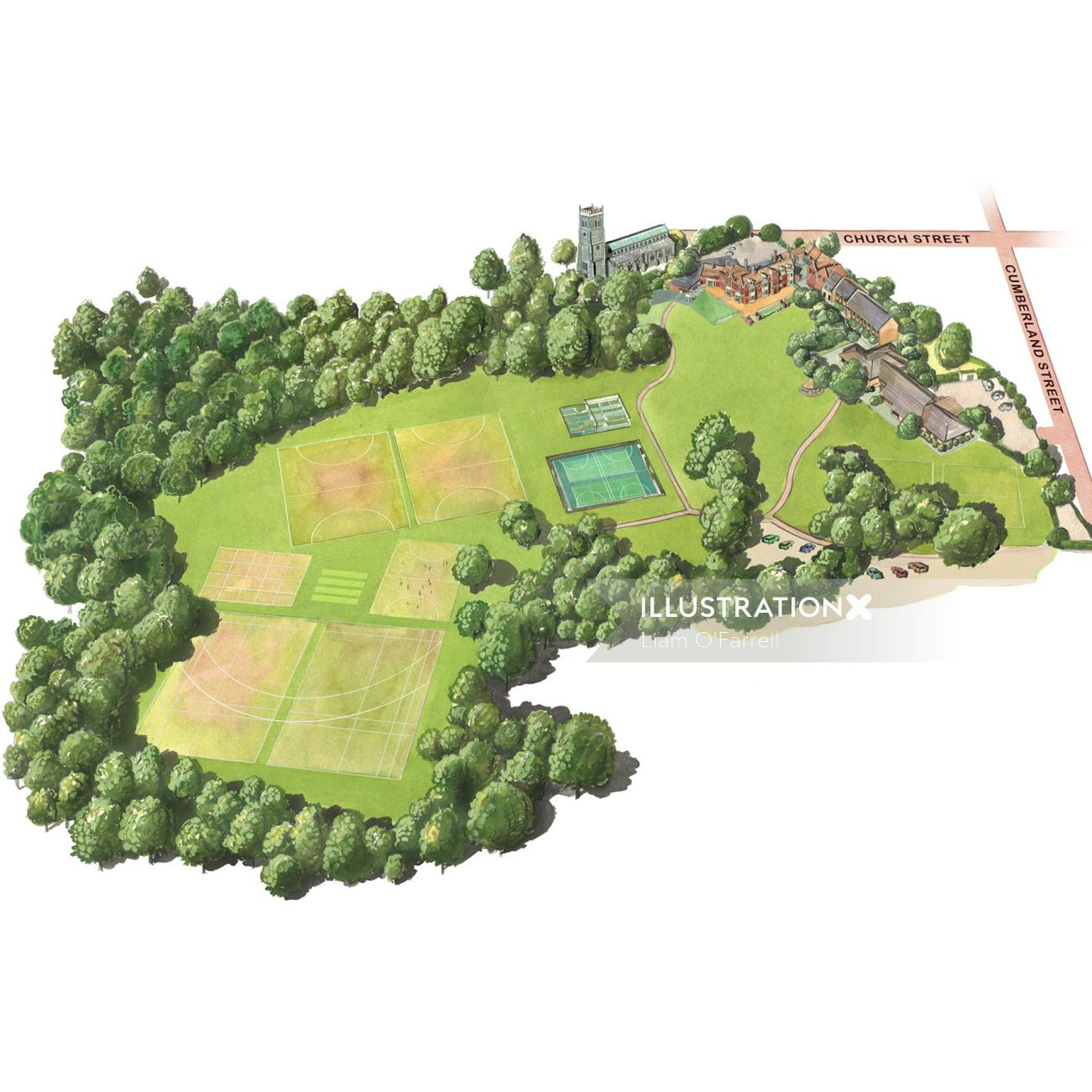 Arial view of An illustration to show the grounds, buildings and main features of Woodbridge prep sc