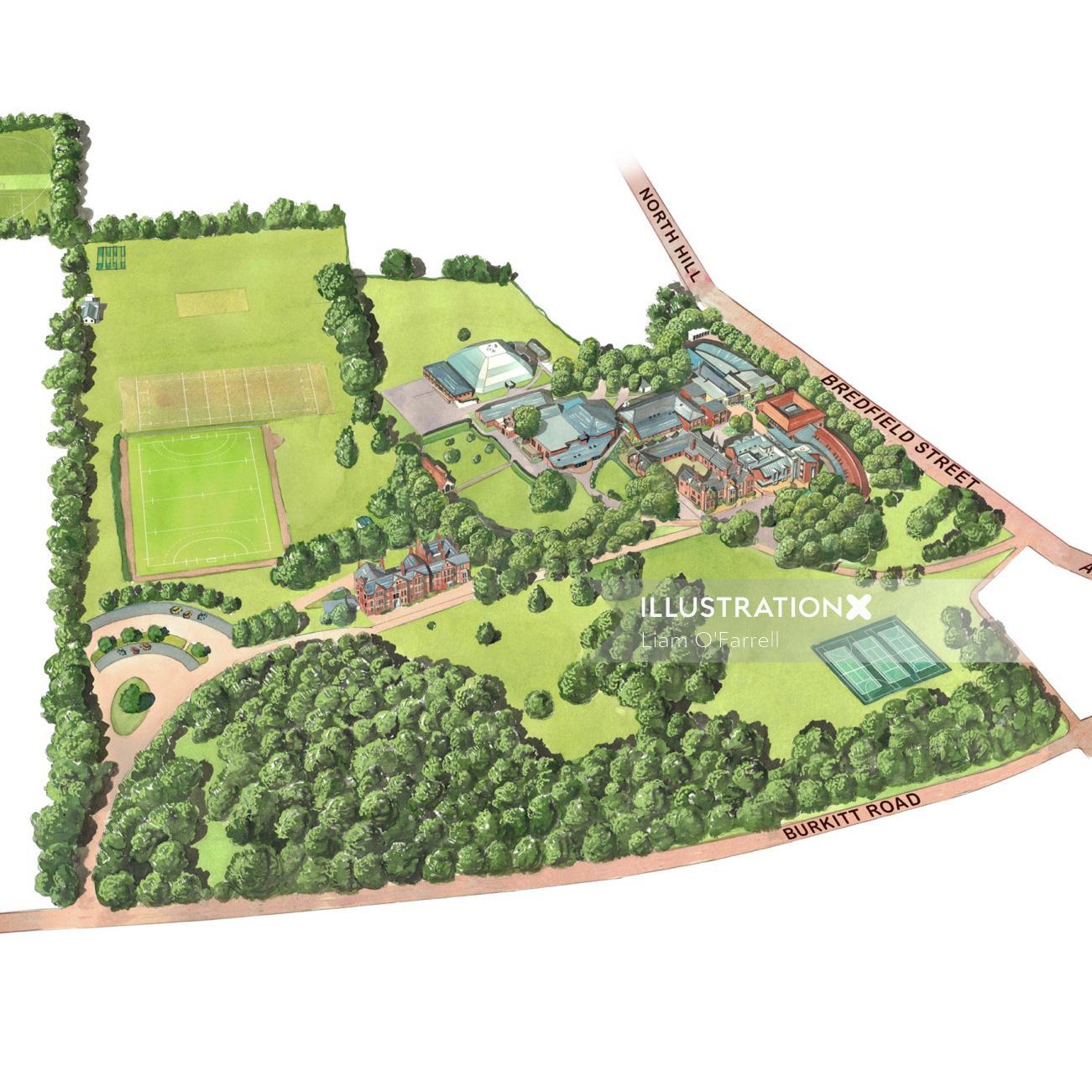 Aerial view of Woodbridge Main School