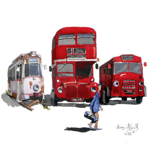 Illustration of buses in a museum