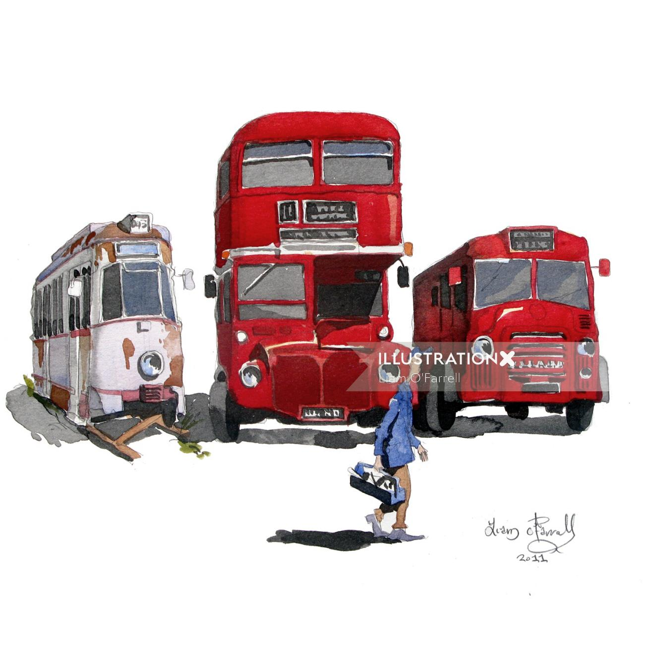 Vintage busses and Fire engine