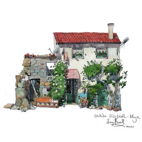 Portugal Café in watercolors