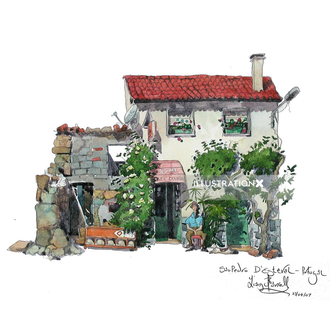 A watercolour of a cafe in Portugal