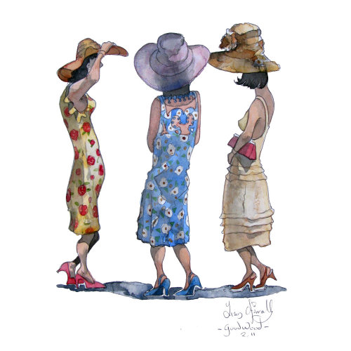 A watercolour of people attending the Goodwood Races