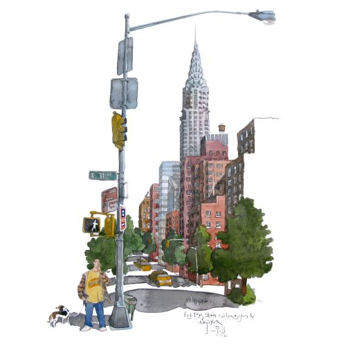 Illustration of E13th and Lexington avenue showing the Chrysler Building in New York